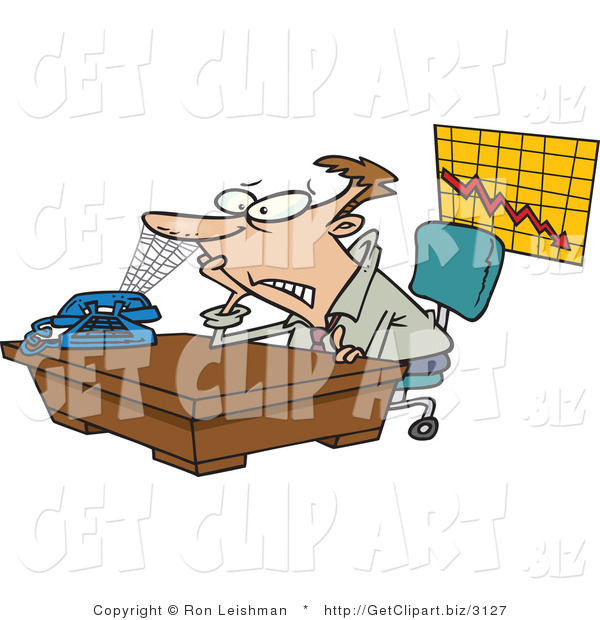Clip Art of a Scared Business Man with a Spiderweb Connecting His Nose to the Phone, Business Is Slow