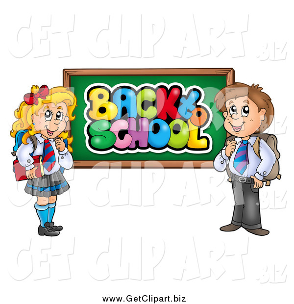 Clip Art of a School Boy and Girl by a Back to School Chalk Board