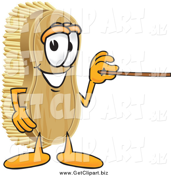 Clip Art of a Scrub Brush Character Using a Pointer Stick