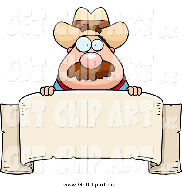 Clip Art of a Sheriff Man Looking over a Blank Banner