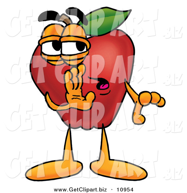 Clip Art of a Shifty Red Apple Character Mascot Whispering Secrets