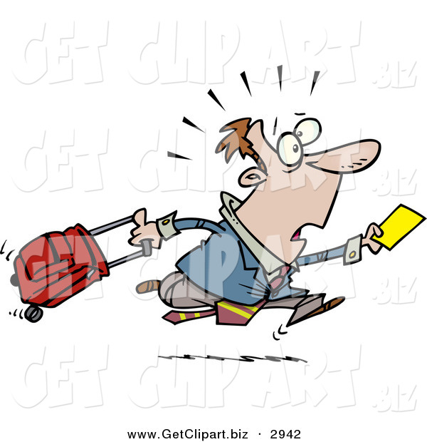Clip Art of a Shocked Late Traveler Man Running and Pulling His Luggage at the Airport