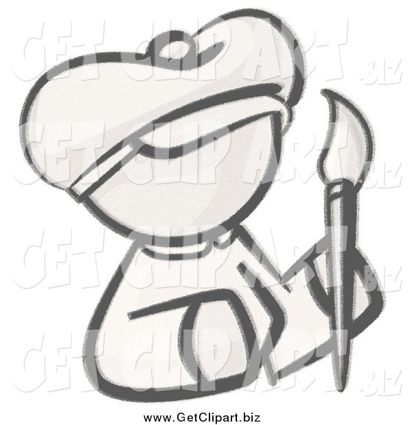 Clip Art of a Sketched Woman Avatar Artist Holding a Paintbrush