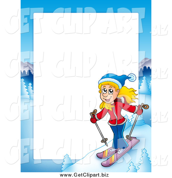 Clip Art of a Skiing Blond White Girl Border Frame Around White Space