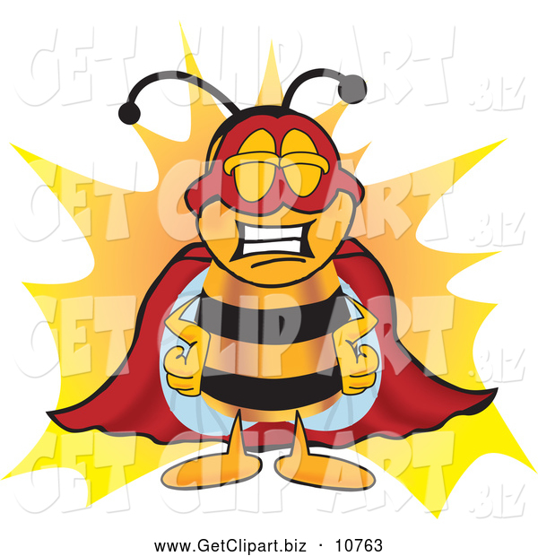 Clip Art of a Smiling Bee Mascot Cartoon Character Dressed As a Super Hero