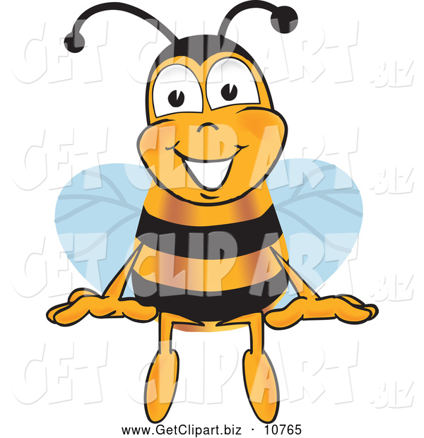 Clip Art of a Smiling Bee Mascot Cartoon Character Sitting