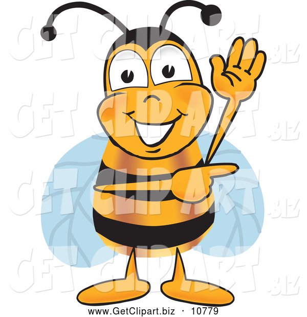 Clip Art of a Smiling Bee Mascot Cartoon Character Waving and Pointing to the Right