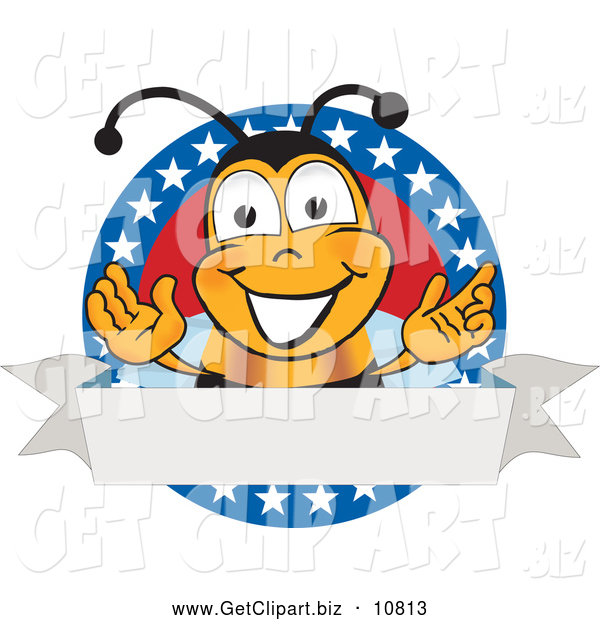 Clip Art of a Smiling Bee Mascot Cartoon Character with Stars on a Blank Label