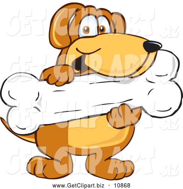 Clip Art of a Smiling Brown Dog Mascot Cartoon Character Holding a Big Doggy Bone Treat