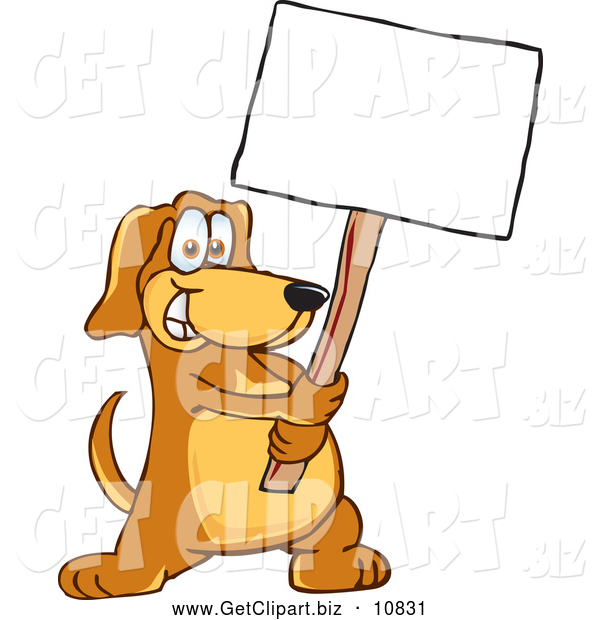 Clip Art of a Smiling Brown Dog Mascot Cartoon Character Holding a Blank White Sign