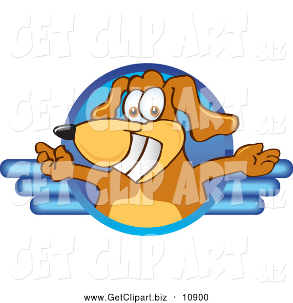 Clip Art of a Smiling Brown Dog Mascot Cartoon Character Logo with Open Arms