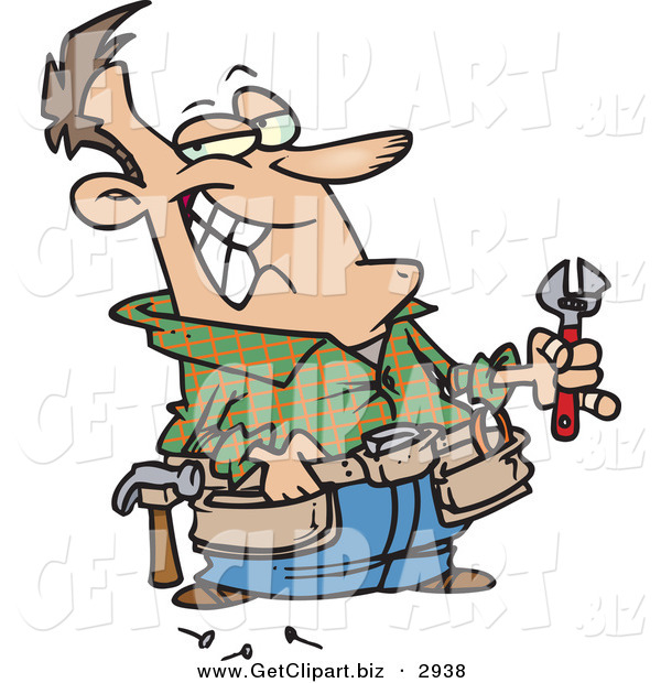 Clip Art of a Smiling Caucasian Handy Man Holding Tools and Smiling