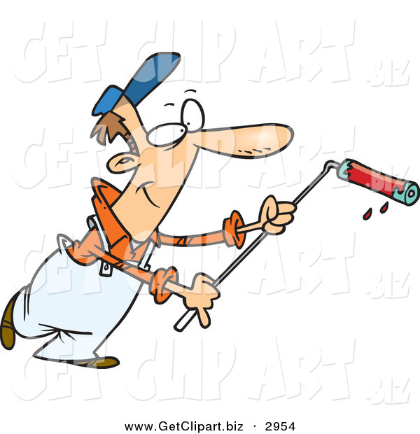 Clip Art of a Smiling Caucasian Man Using a Long Paint Roller While Painting