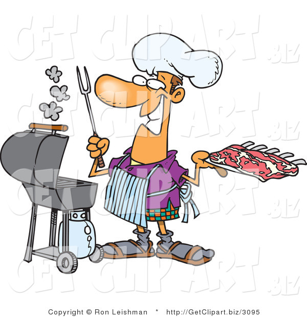 Clip Art of a Smiling Male Cook Preparing to Barbeque Ribs on a Gas Grill