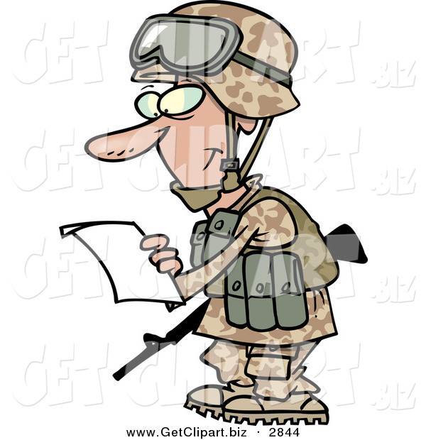 Clip Art of a Smiling Marine Soldier Man in a Camouflage Uniform and Helmet, Reading a Letter