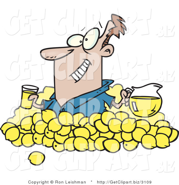 Clip Art of a Smiling Optomistic Man with Lemons, Pitcher of Lemonade and a Glass of Juice