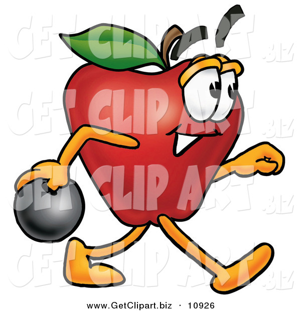 Clip Art of a Smiling Red Apple Character Mascot Holding a Bowling Ball