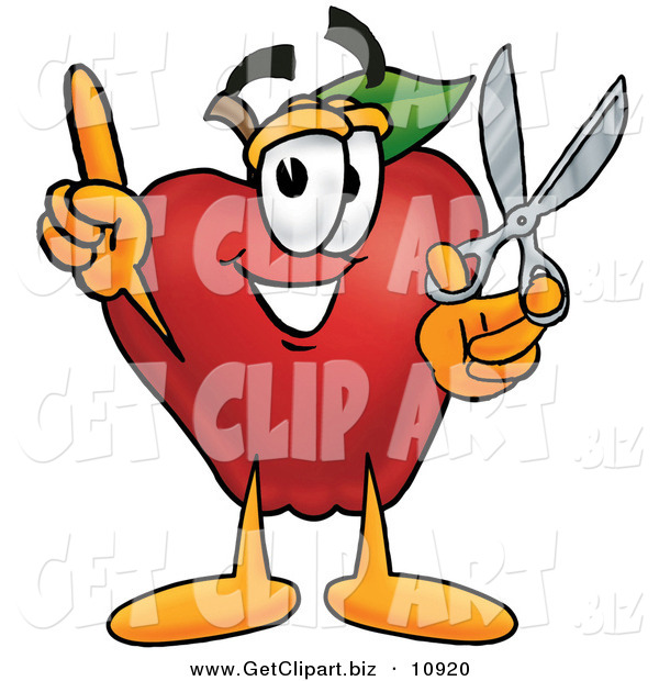 Clip Art of a Smiling Red Apple Character Mascot Holding a Pair of Scissors