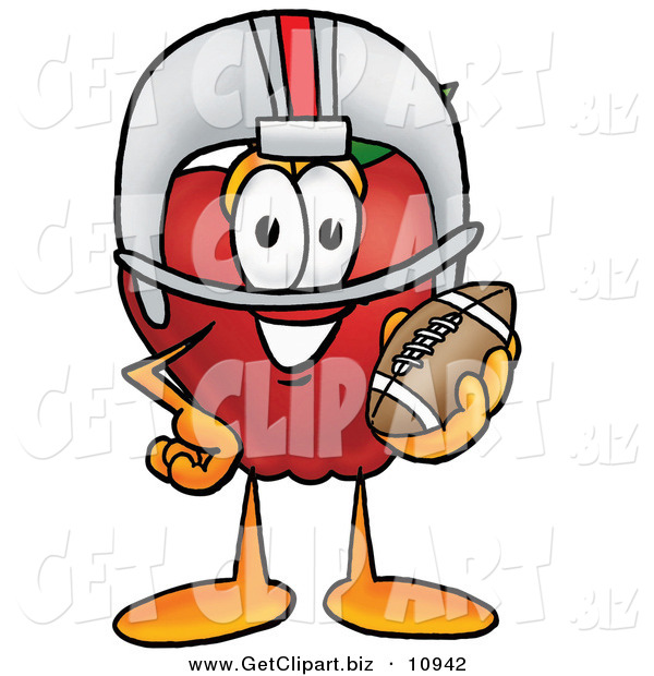 Clip Art of a Smiling Red Apple Character Mascot in a Helmet, Holding a Football