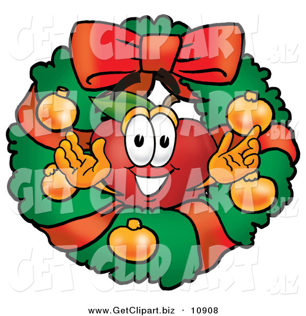 Clip Art of a Smiling Red Apple Character Mascot in the Center of a Holiday Christmas Wreath