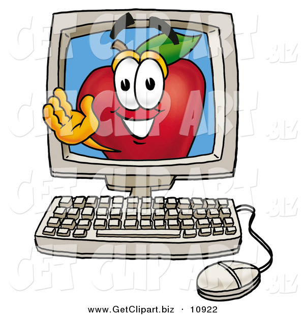 Clip Art of a Smiling Red Apple Character Mascot on a Desktop Computer Screen