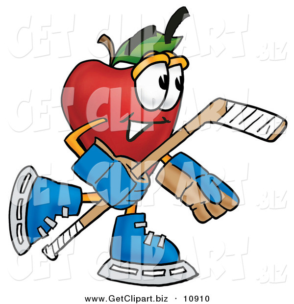 Clip Art of a Smiling Red Apple Character Mascot Playing Ice Hockey