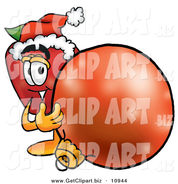 Clip Art of a Smiling Red Apple Character Mascot Wearing a Santa Hat, Next to a Christmas Bauble