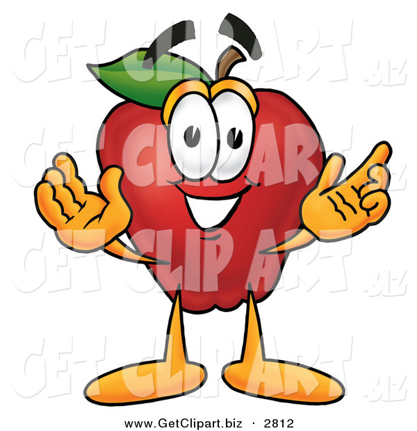 Clip Art of a Smiling Red Apple Character Mascot with Open Arms While Greeting Someone