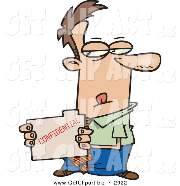 Clip Art of a Sneaky White Businessperson Looking at a Confidential File