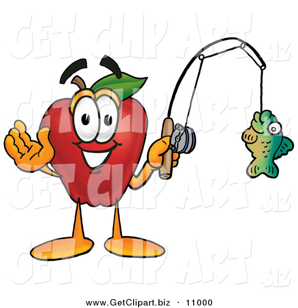 Clip Art of a Sporty and Smiling Red Apple Character Mascot Holding a Fish on a Fishing Pole