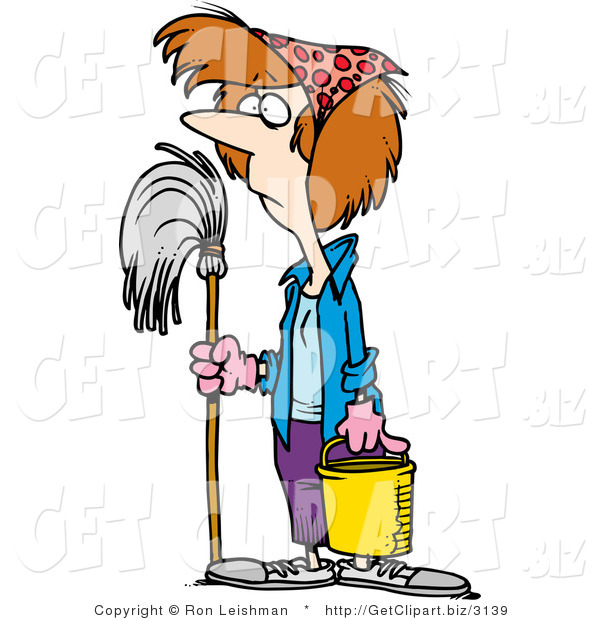 Clip Art of a Spring Cleaning Housewife with a Mop and Bucket