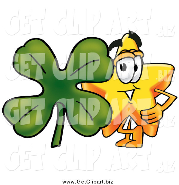 Clip Art of a Star Character with a St Patricks Day Four Leaf Clover