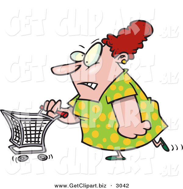 Clip Art of a Stressed out White Woman Pushing a Shopping CartStressed out White Woman Pushing a Shopping Cart