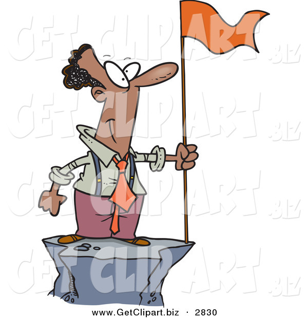 Clip Art of a Successful Black Business Man Standing on a Mountain Top with a Red Flag on White