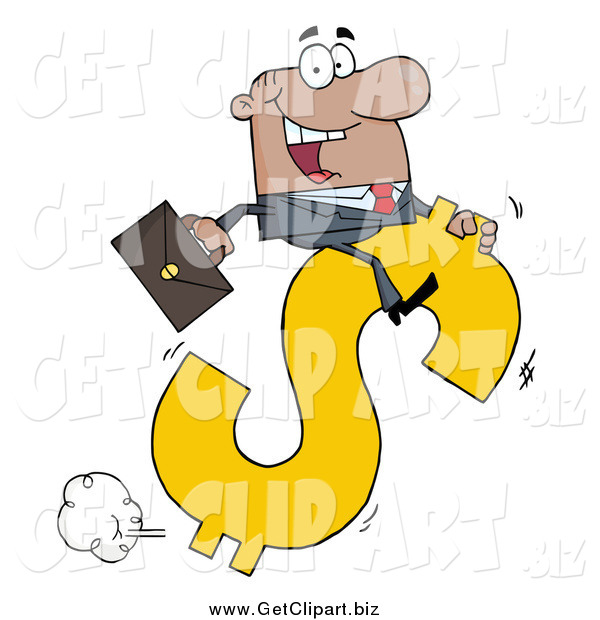Clip Art of a Successful Black Businessman Riding on a Hopping Dollar Symbol