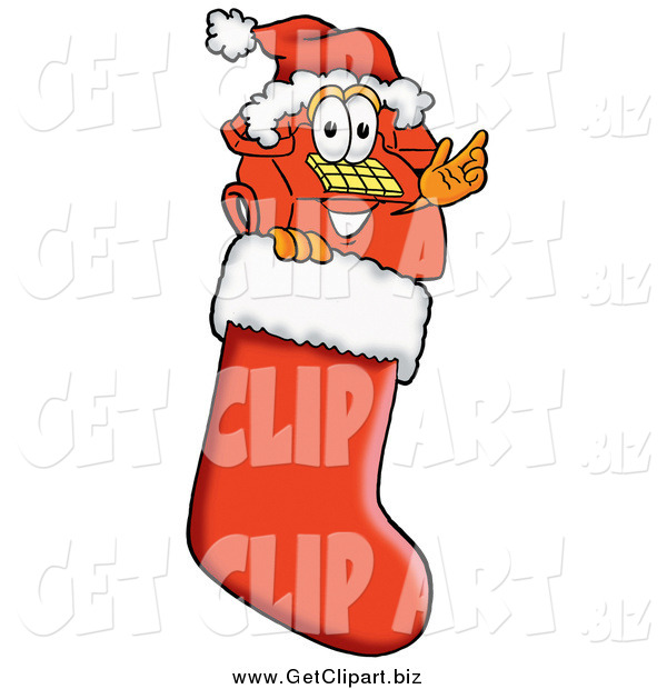 Clip Art of a Telephone Mascot Waving in a Christmas Stocking