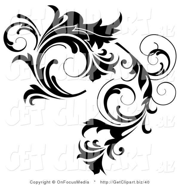 Clip Art of a Thick Black Curlying Leafy Vine Design
