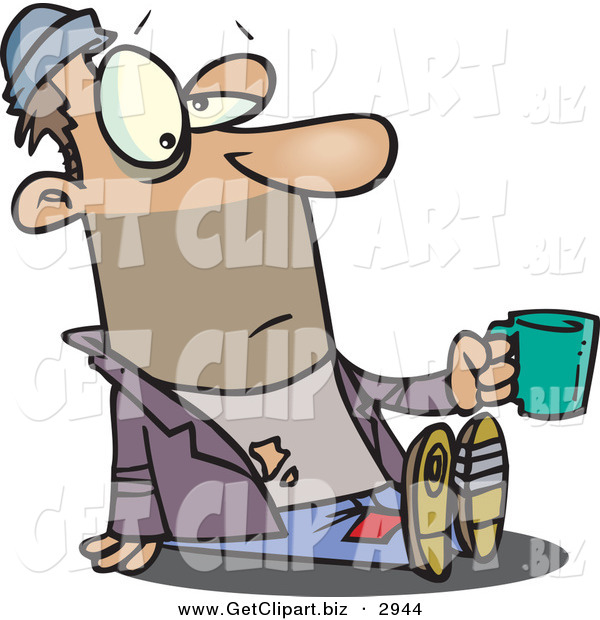 Clip Art of a Tired Caucasian Homeless Beggar Man Sitting on the Ground, Asking for Money