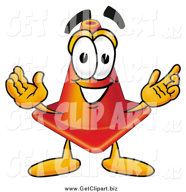 Clip Art of a Traffic Cone Cartoon Character with Welcoming Open Arms
