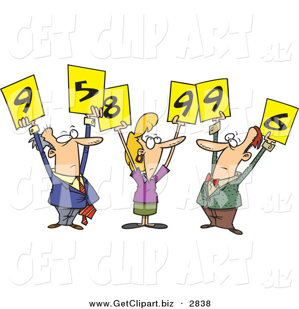 Clip Art of a Trio of White Men and Woman Judges Holding up Number Signs