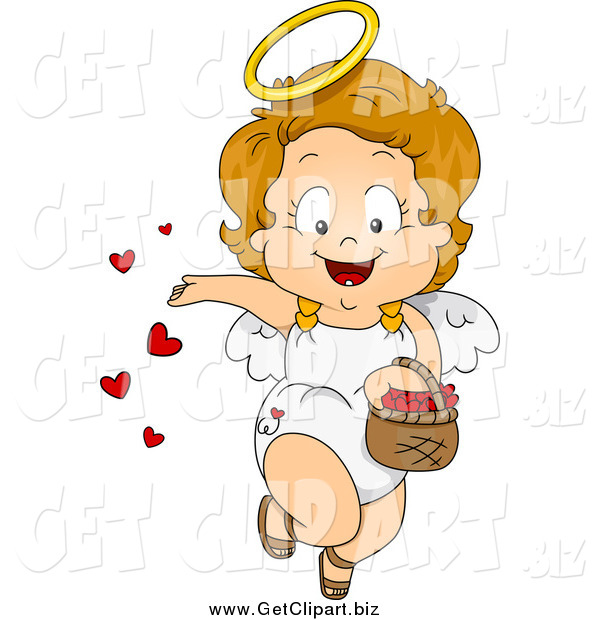 Clip Art of a Valentine Cupid Toddler Girl Spreading Love