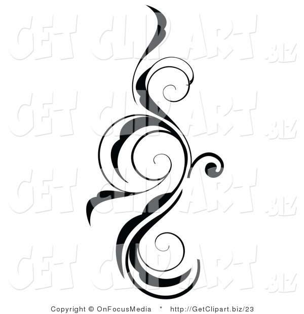 Clip Art of a Vertical Black and White Vine