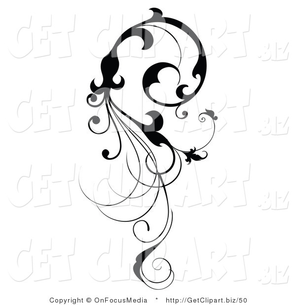 Clip Art of a Vertical Black Silhouetted Scroll Vine Design Element Flowing down
