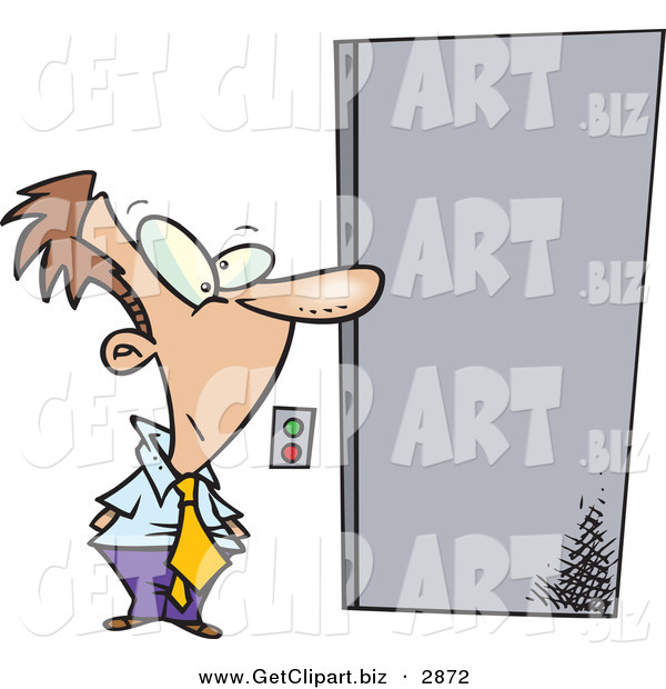 Clip Art of a White Business Man Waiting for an Elevator to Open