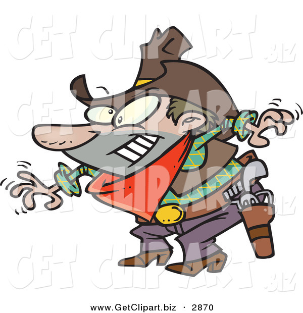 Clip Art of a White Male Cowboy Readin to Grab His Pistol During Draw