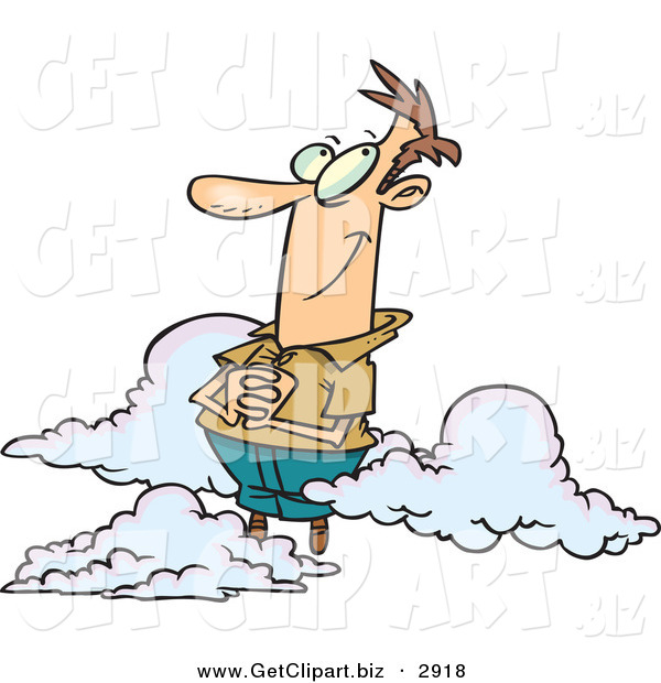 Clip Art of a White Man Happy on Cloud 9