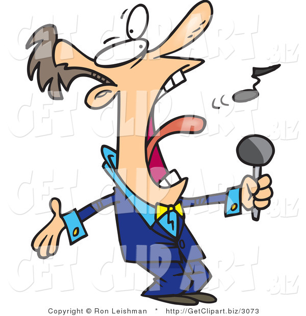 Clip Art of a White Man in a Blue Suit, Singing the Anthem Loudly