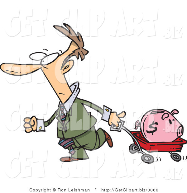 Clip Art of a White Man Pulling a Pink Piggy Bank in a Wagon
