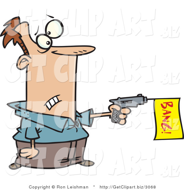 Clip Art of a White Man Shooting a Dud Gun with a Bang Flag