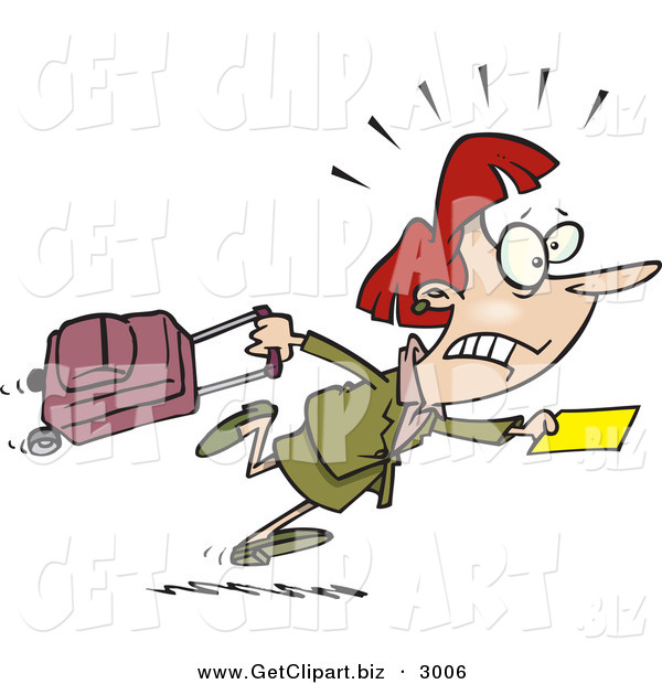 Clip Art of a White Woman in a Hurry to Catch Her Flight